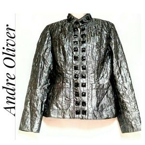 Andre Oliver Jeweled Evening Jacket Pewter Size 4